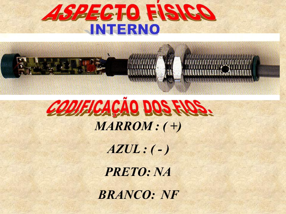 ASPECTO FÍSICO INTERNO CODIFICAÇÃO DOS FIOS. MARROM : ( +)