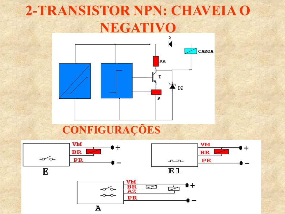 2-TRANSISTOR NPN: CHAVEIA O NEGATIVO