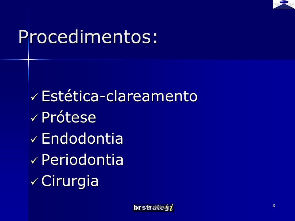 Procedimentos: Estética-clareamento Prótese Endodontia Periodontia