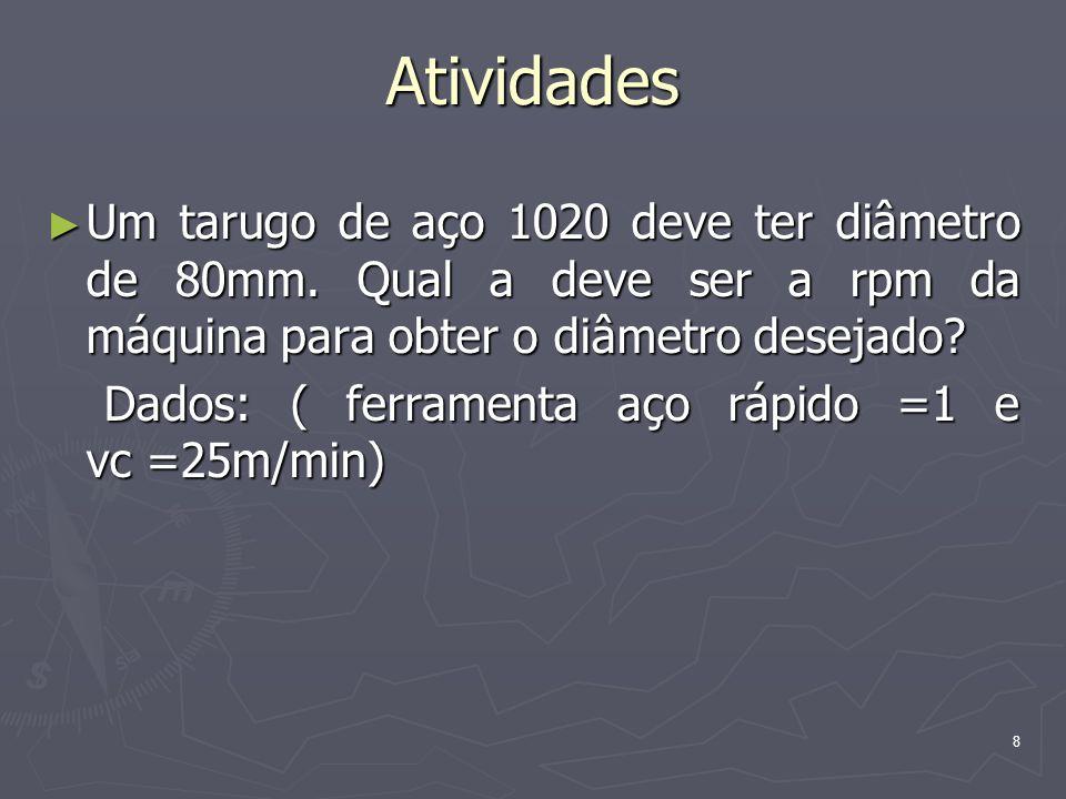 Atividades Um tarugo de aço 1020 deve ter diâmetro de 80mm. Qual a deve ser a rpm da máquina para obter o diâmetro desejado