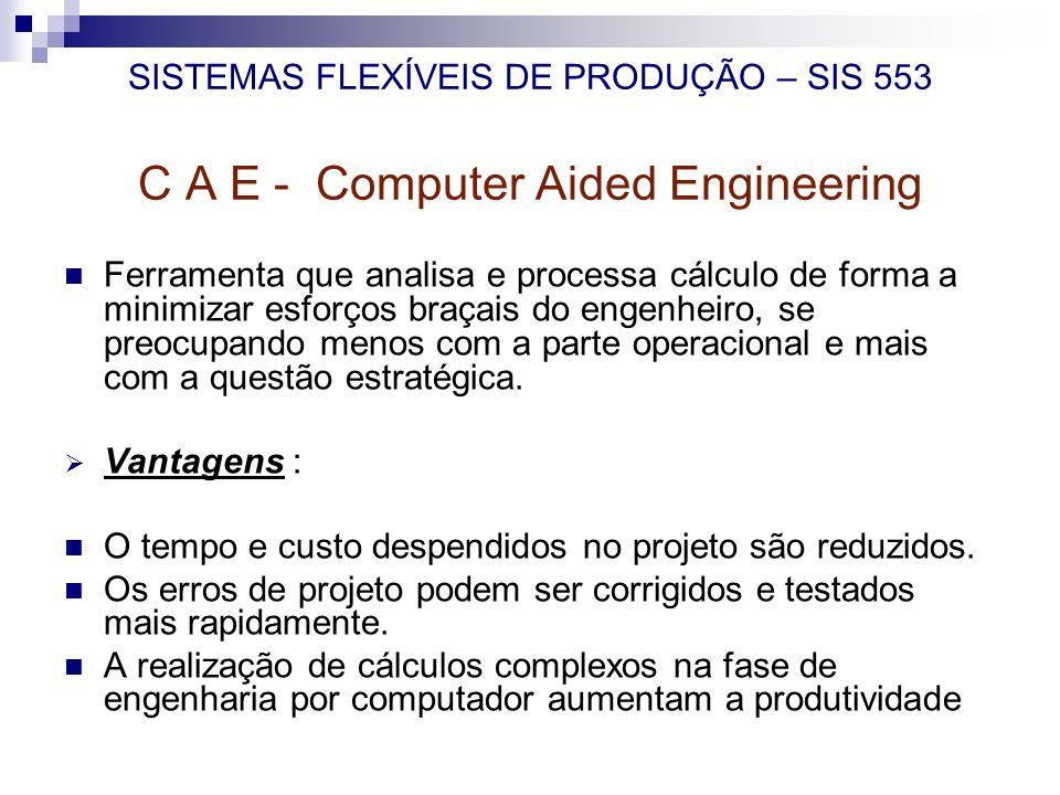 SISTEMAS FLEXÍVEIS DE PRODUÇÃO – SIS 553 C A E - Computer Aided Engineering