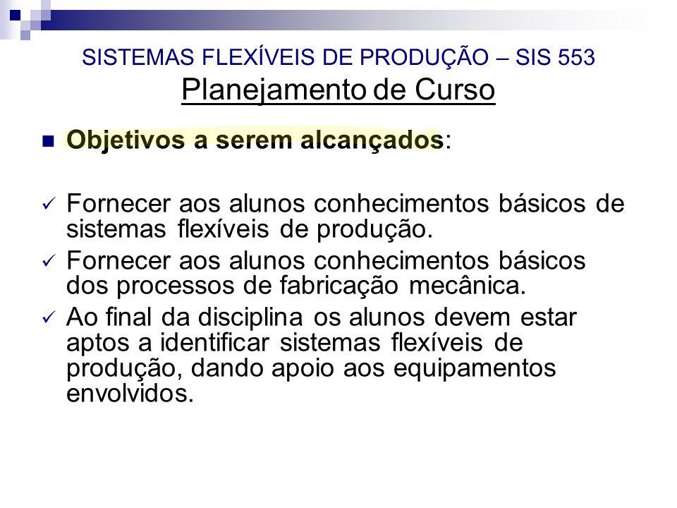SISTEMAS FLEXÍVEIS DE PRODUÇÃO – SIS 553 Planejamento de Curso