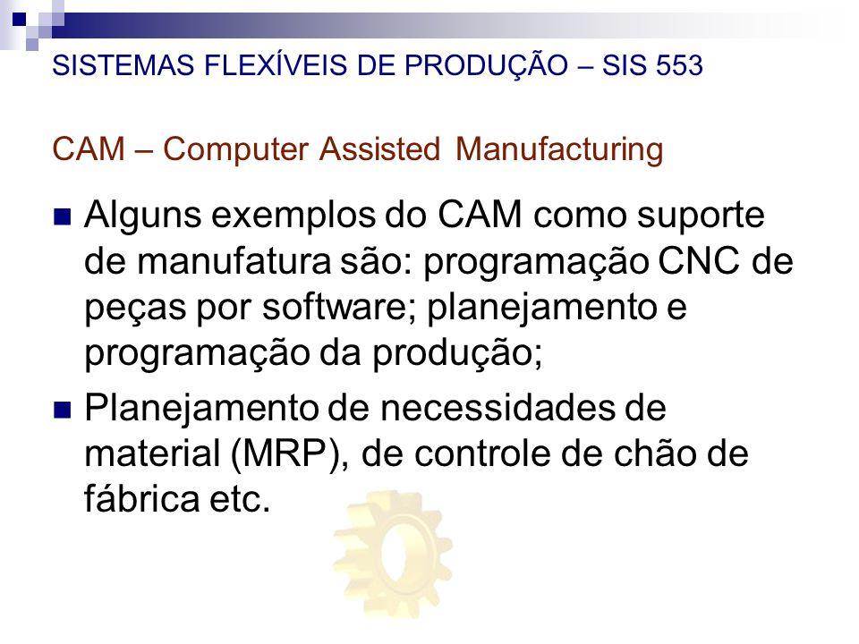 SISTEMAS FLEXÍVEIS DE PRODUÇÃO – SIS 553 CAM – Computer Assisted Manufacturing