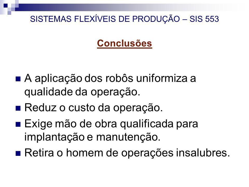 SISTEMAS FLEXÍVEIS DE PRODUÇÃO – SIS 553 Conclusões