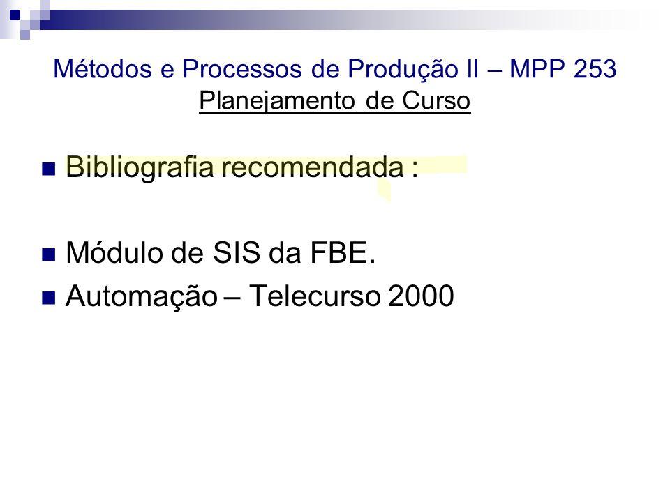 Métodos e Processos de Produção II – MPP 253 Planejamento de Curso