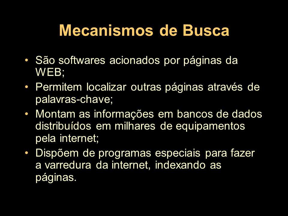Mecanismos de Busca São softwares acionados por páginas da WEB;