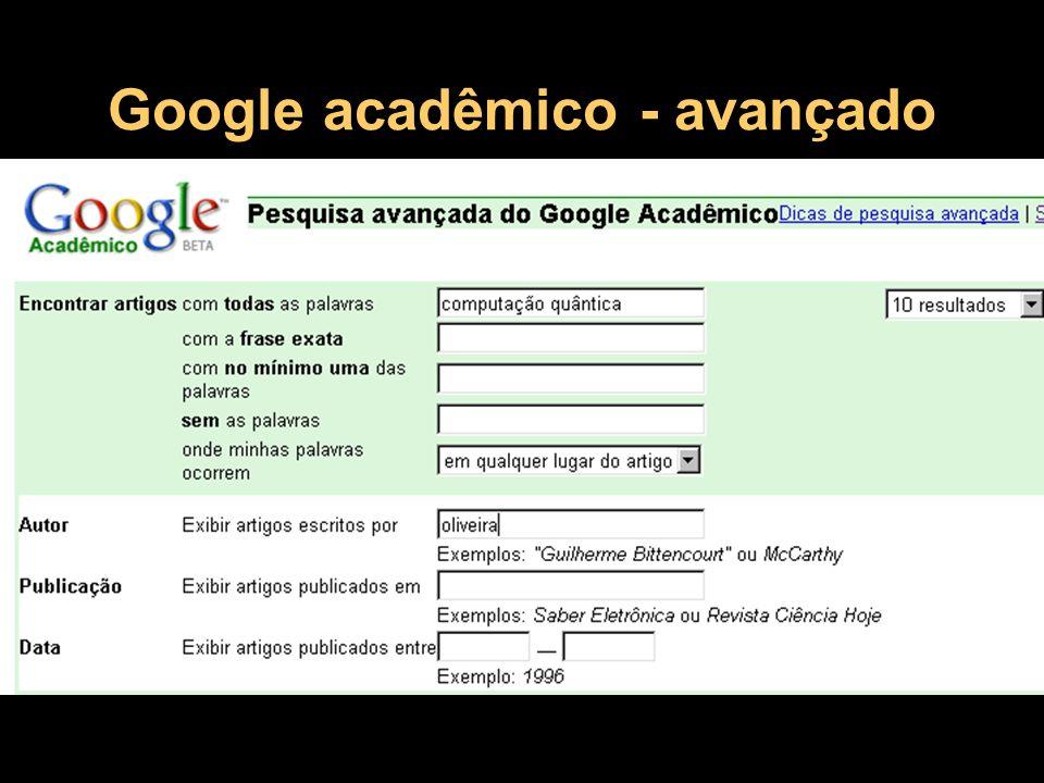 Google acadêmico - avançado
