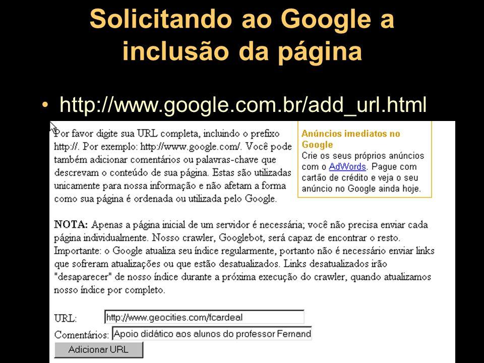 Solicitando ao Google a inclusão da página