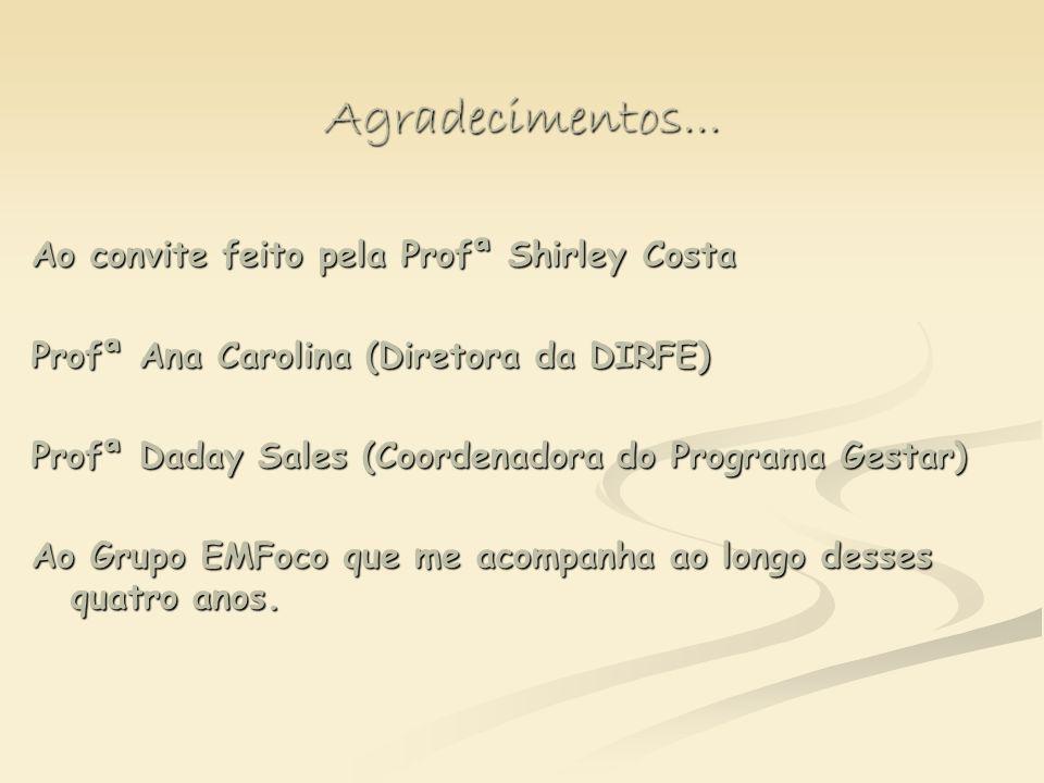 Agradecimentos... Ao convite feito pela Profª Shirley Costa