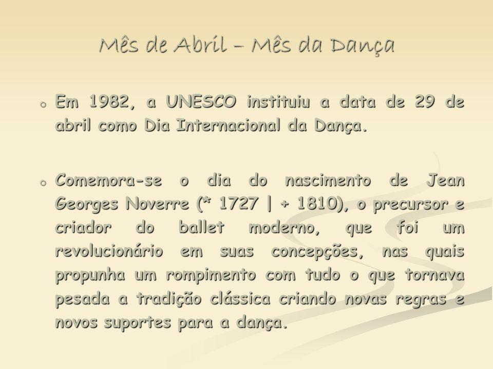 Mês de Abril – Mês da Dança