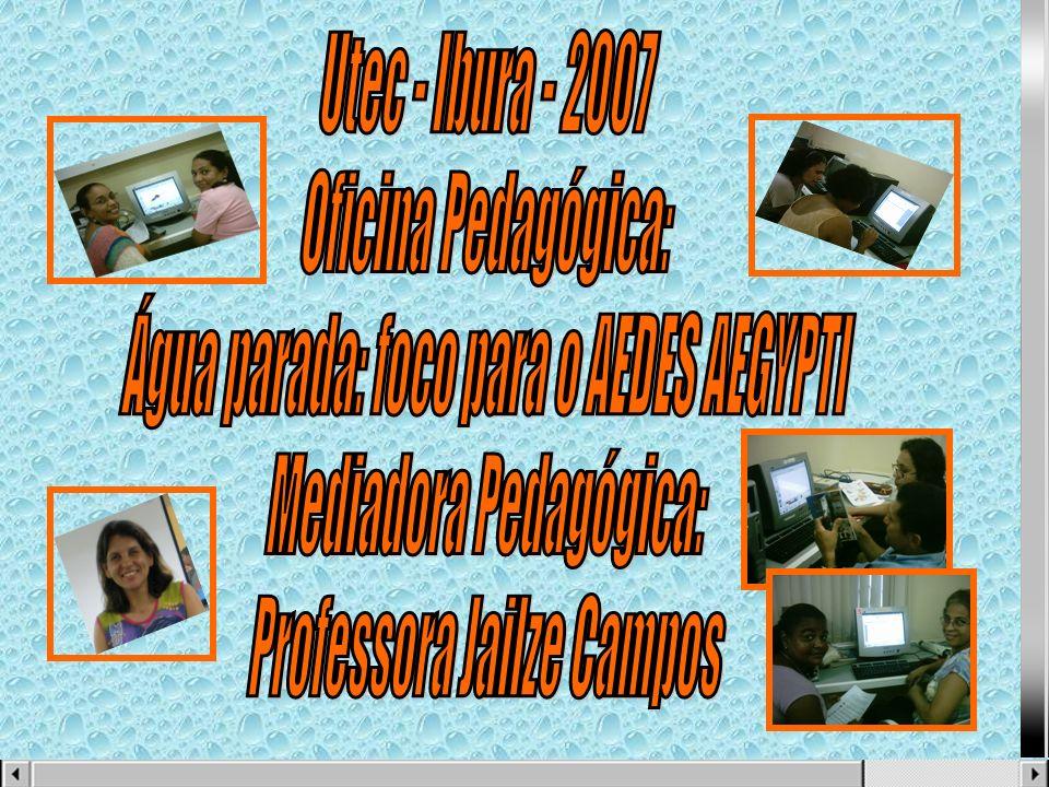 Água parada: foco para o AEDES AEGYPTI Mediadora Pedagógica: