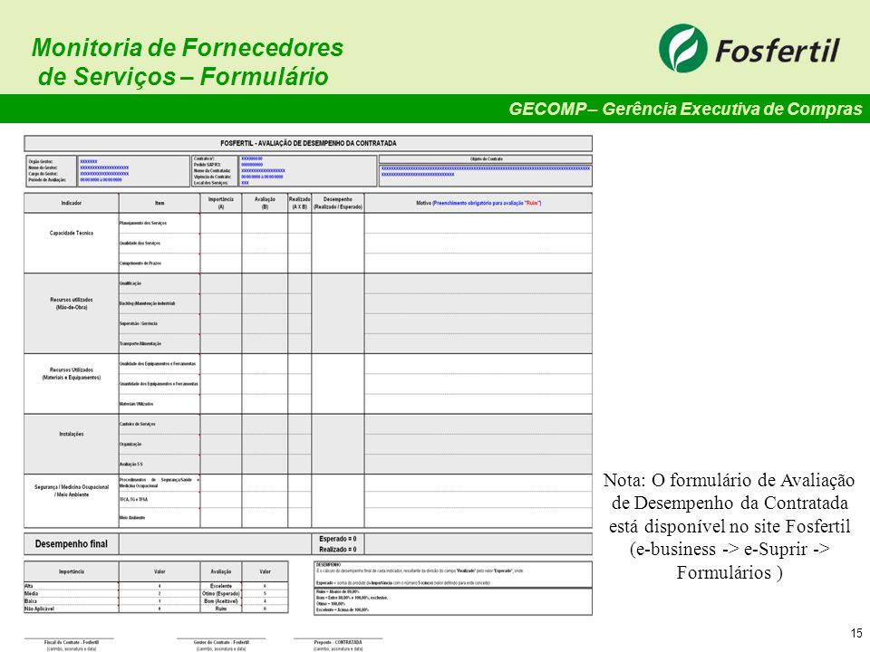 Monitoria de Fornecedores de Serviços – Formulário