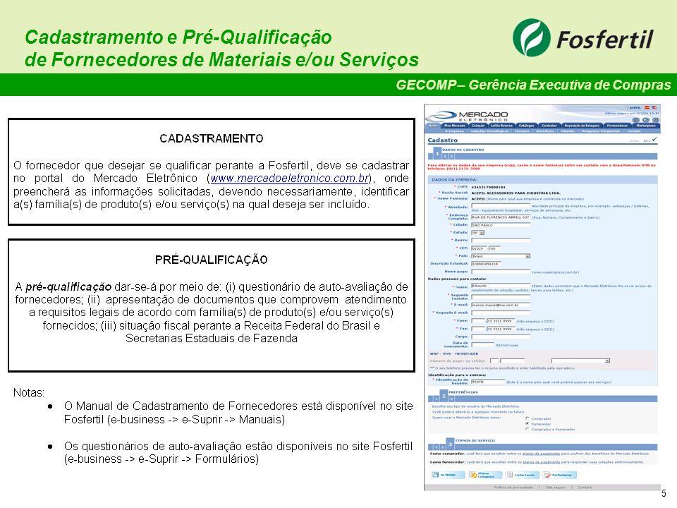 Cadastramento e Pré-Qualificação