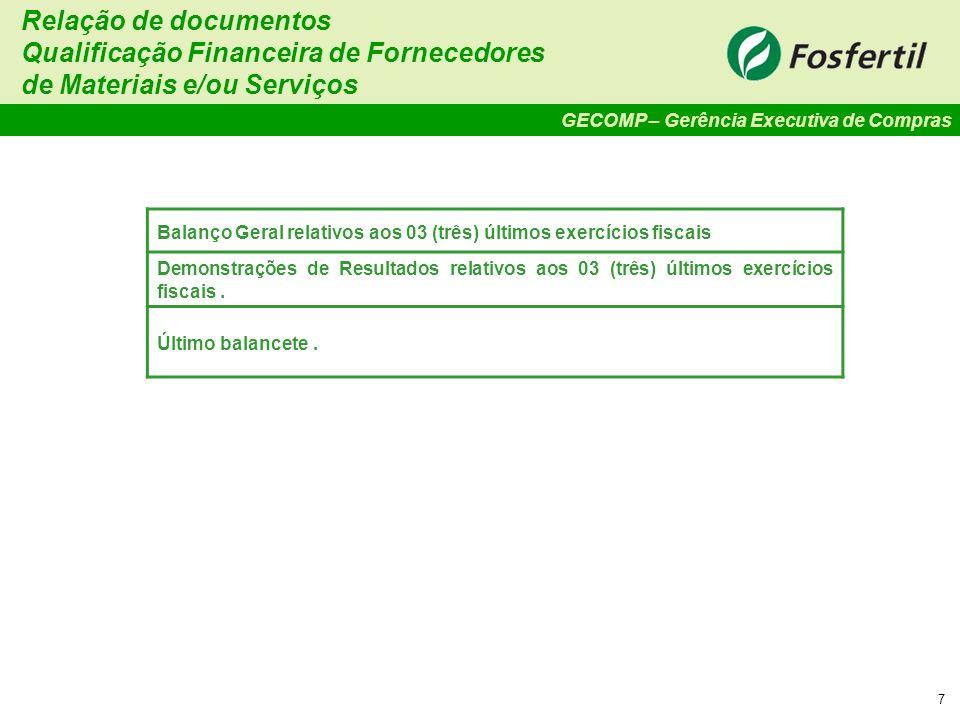 Qualificação Financeira de Fornecedores de Materiais e/ou Serviços