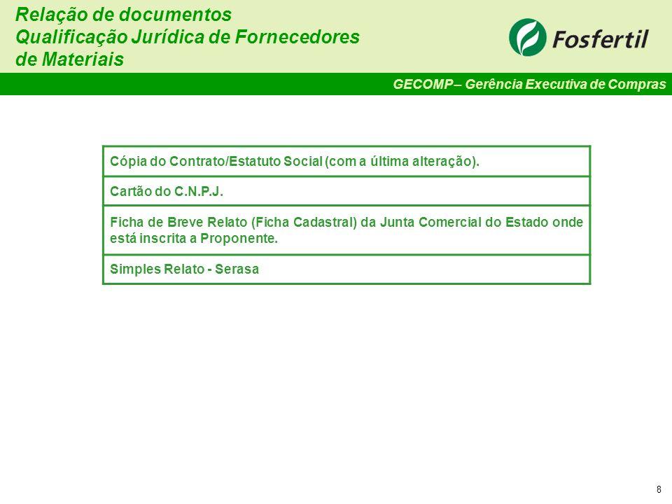Qualificação Jurídica de Fornecedores de Materiais