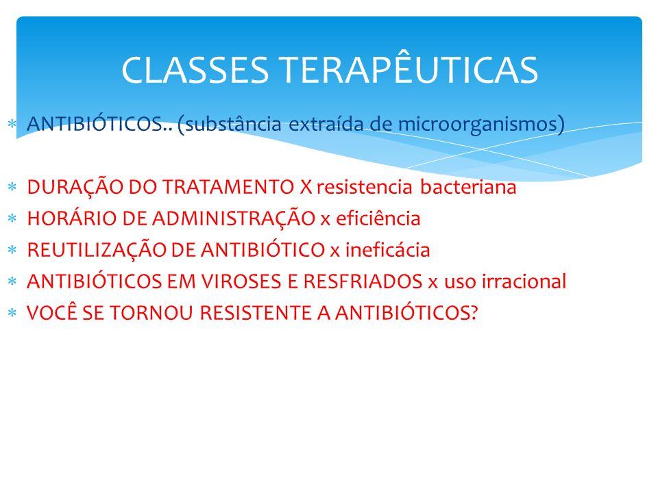 CLASSES TERAPÊUTICAS ANTIBIÓTICOS.. (substância extraída de microorganismos) DURAÇÃO DO TRATAMENTO X resistencia bacteriana.