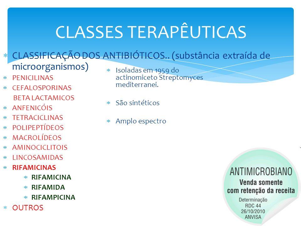 CLASSES TERAPÊUTICAS CLASSIFICAÇÃO DOS ANTIBIÓTICOS.. (substância extraída de microorganismos) PENICILINAS.