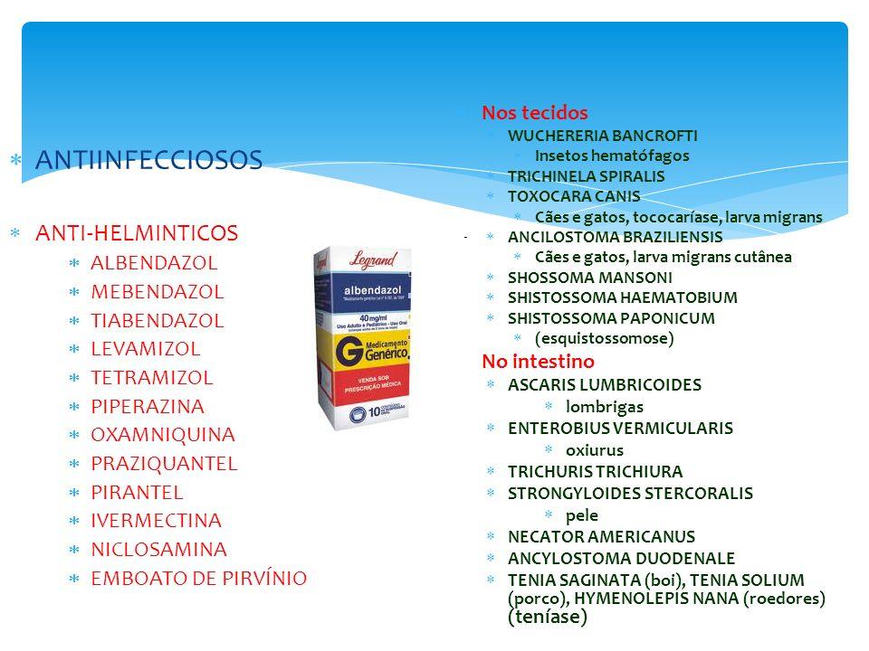 ANTIINFECCIOSOS ANTI-HELMINTICOS Nos tecidos ALBENDAZOL MEBENDAZOL
