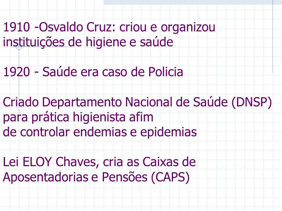 1910 -Osvaldo Cruz: criou e organizou instituições de higiene e saúde 1920 - Saúde era caso de Policia Criado Departamento Nacional de Saúde (DNSP) para prática higienista afim de controlar endemias e epidemias Lei ELOY Chaves, cria as Caixas de Aposentadorias e Pensões (CAPS)