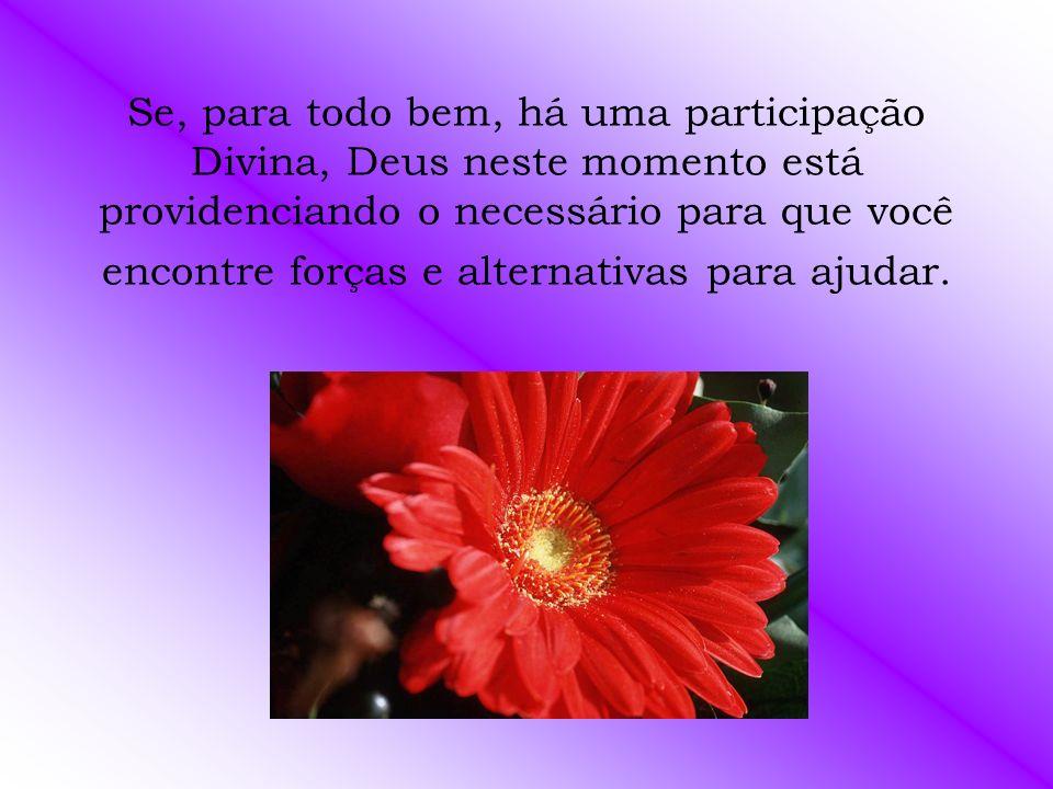 Se, para todo bem, há uma participação Divina, Deus neste momento está providenciando o necessário para que você encontre forças e alternativas para ajudar.