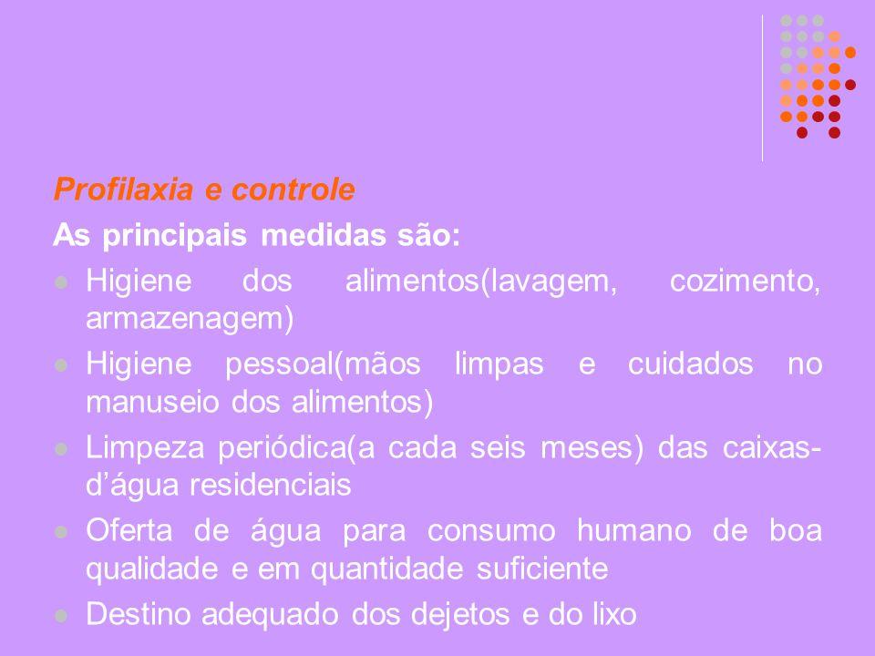 Profilaxia e controle As principais medidas são: Higiene dos alimentos(lavagem, cozimento, armazenagem)