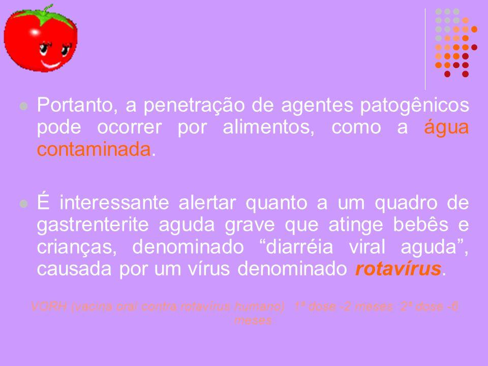 Portanto, a penetração de agentes patogênicos pode ocorrer por alimentos, como a água contaminada.