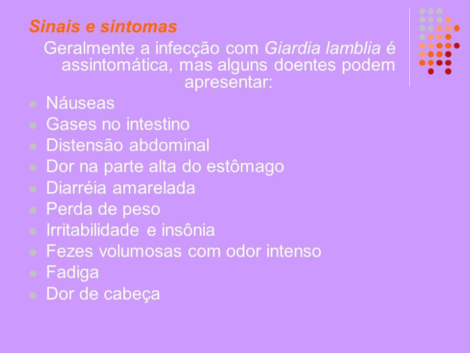 Sinais e sintomas Geralmente a infecção com Giardia lamblia é assintomática, mas alguns doentes podem apresentar:
