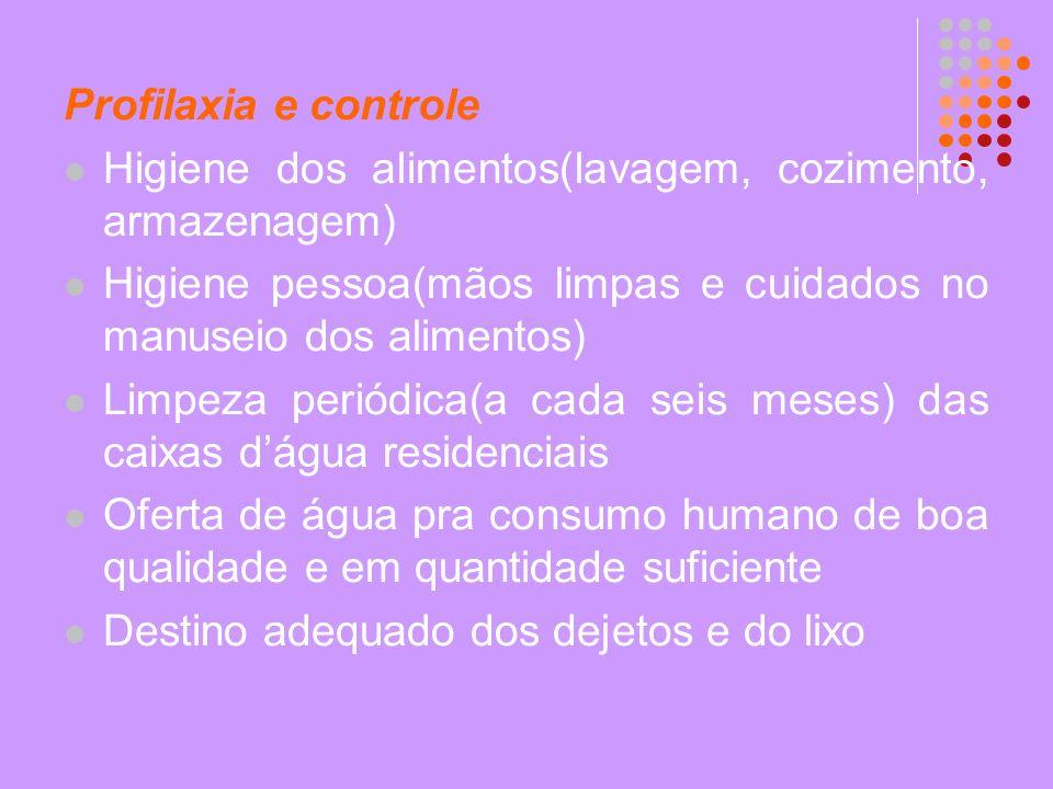 Profilaxia e controle Higiene dos alimentos(lavagem, cozimento, armazenagem) Higiene pessoa(mãos limpas e cuidados no manuseio dos alimentos)