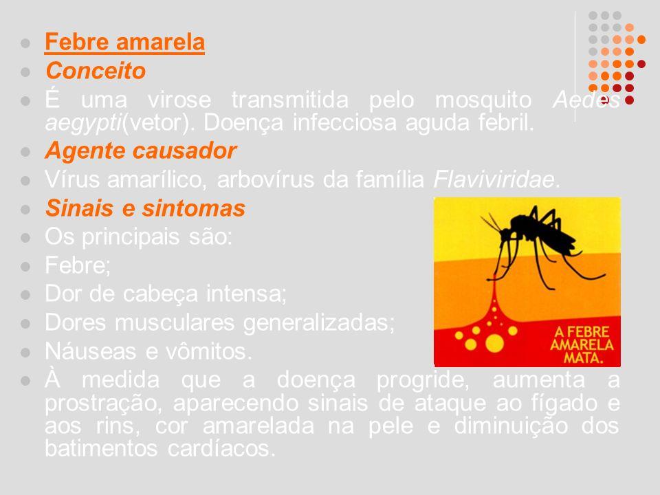 Febre amarela Conceito. É uma virose transmitida pelo mosquito Aedes aegypti(vetor). Doença infecciosa aguda febril.