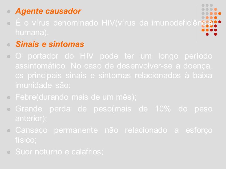 Agente causador É o vírus denominado HIV(vírus da imunodeficiência humana). Sinais e sintomas.