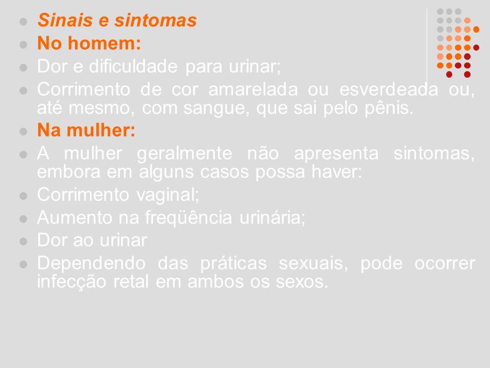 Sinais e sintomas No homem: Dor e dificuldade para urinar; Corrimento de cor amarelada ou esverdeada ou, até mesmo, com sangue, que sai pelo pênis.
