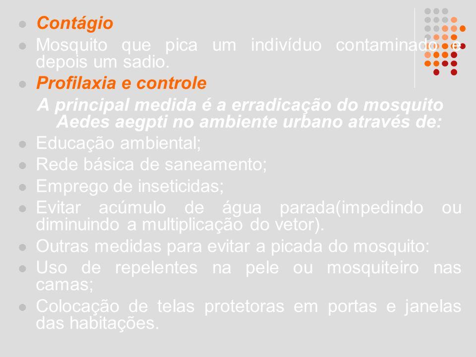 Contágio Mosquito que pica um indivíduo contaminado e depois um sadio. Profilaxia e controle.