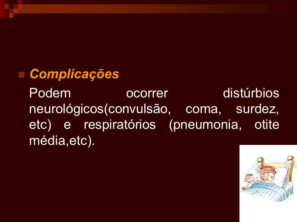 Complicações Podem ocorrer distúrbios neurológicos(convulsão, coma, surdez, etc) e respiratórios (pneumonia, otite média,etc).