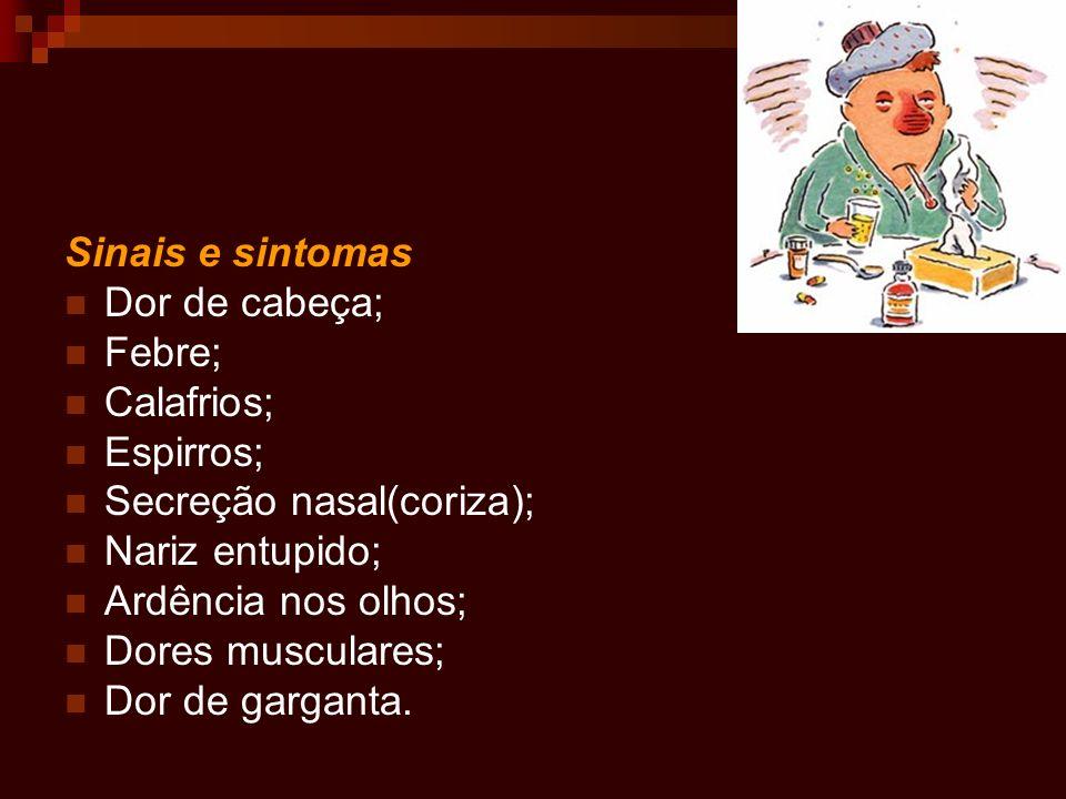 Sinais e sintomas Dor de cabeça; Febre; Calafrios; Espirros; Secreção nasal(coriza); Nariz entupido;