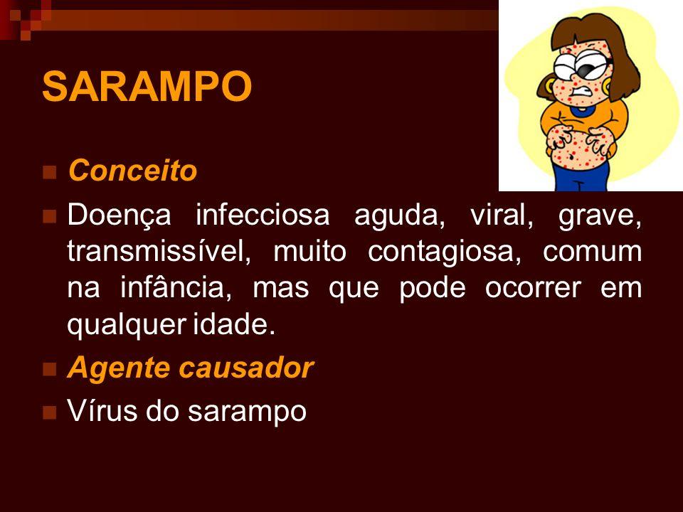 SARAMPO Conceito. Doença infecciosa aguda, viral, grave, transmissível, muito contagiosa, comum na infância, mas que pode ocorrer em qualquer idade.