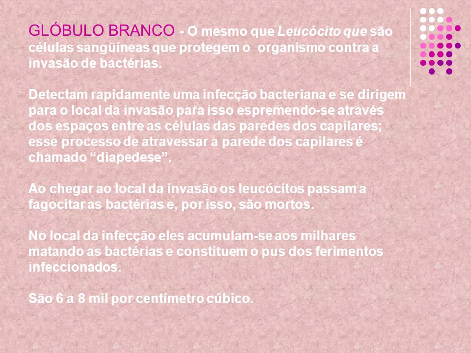 GLÓBULO BRANCO - O mesmo que Leucócito que são células sangüíneas que protegem o organismo contra a invasão de bactérias.