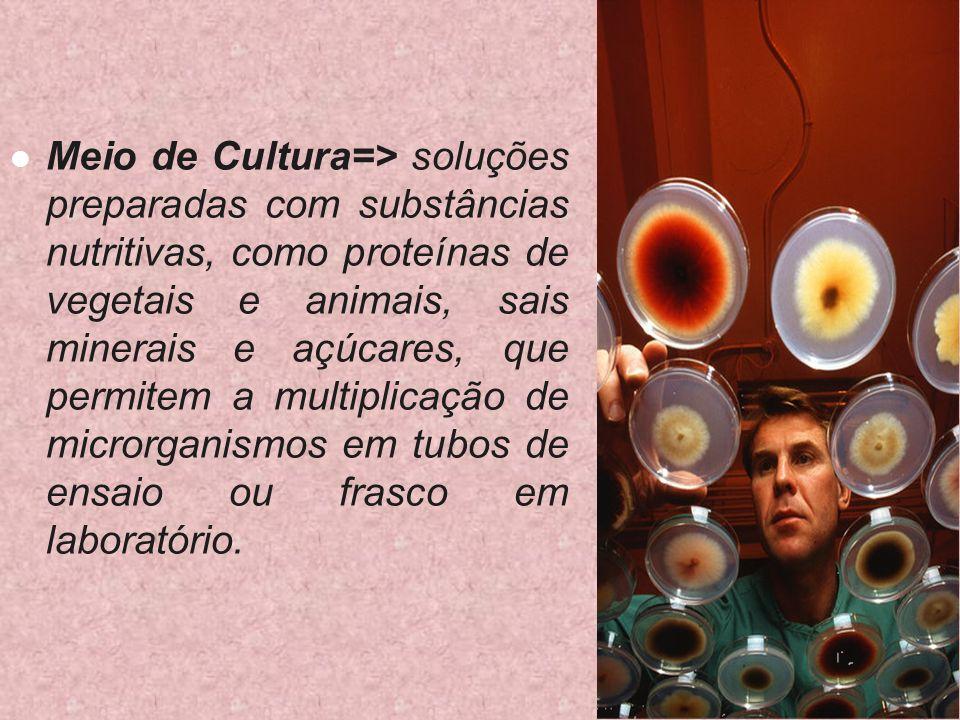 Meio de Cultura=> soluções preparadas com substâncias nutritivas, como proteínas de vegetais e animais, sais minerais e açúcares, que permitem a multiplicação de microrganismos em tubos de ensaio ou frasco em laboratório.