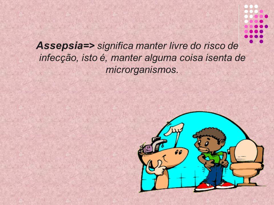 Assepsia=> significa manter livre do risco de infecção, isto é, manter alguma coisa isenta de microrganismos.