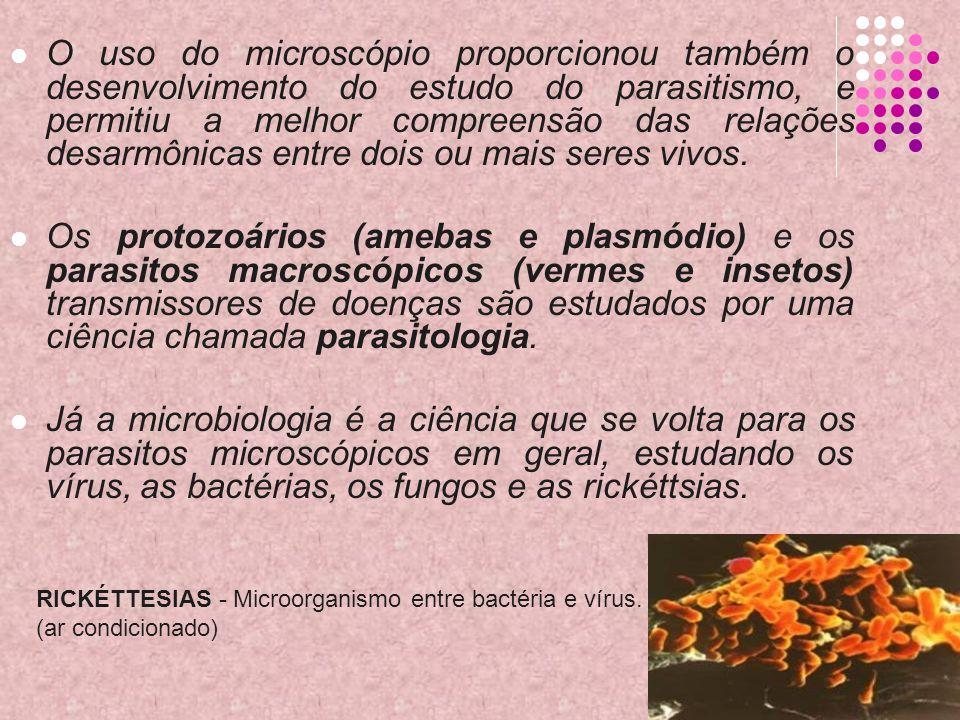 O uso do microscópio proporcionou também o desenvolvimento do estudo do parasitismo, e permitiu a melhor compreensão das relações desarmônicas entre dois ou mais seres vivos.
