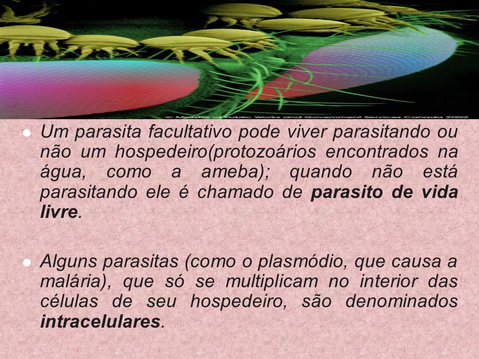 Um parasita facultativo pode viver parasitando ou não um hospedeiro(protozoários encontrados na água, como a ameba); quando não está parasitando ele é chamado de parasito de vida livre.