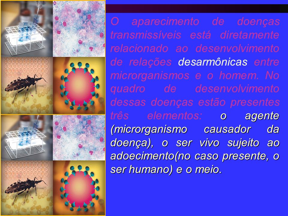 O aparecimento de doenças transmissíveis está diretamente relacionado ao desenvolvimento de relações desarmônicas entre microrganismos e o homem.