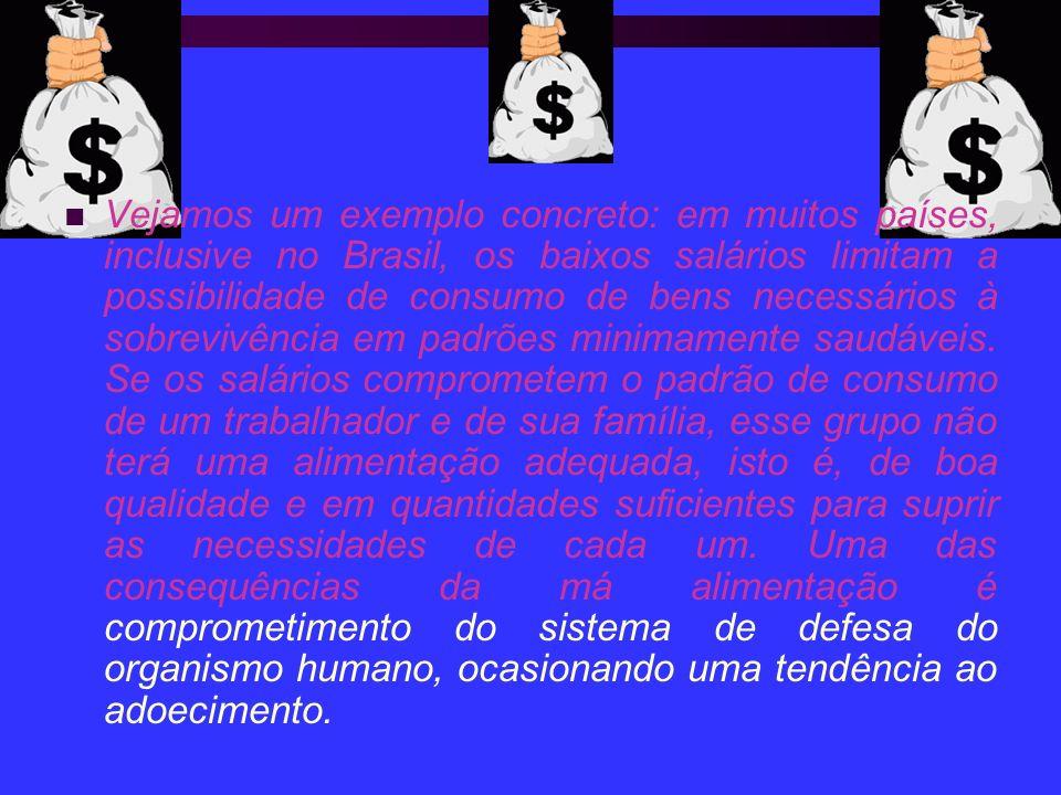 Vejamos um exemplo concreto: em muitos países, inclusive no Brasil, os baixos salários limitam a possibilidade de consumo de bens necessários à sobrevivência em padrões minimamente saudáveis.