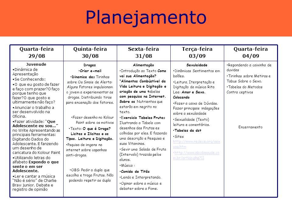 Planejamento Quarta-feira 04/09 Terça-feira 03/09 Sexta-feira 31/08