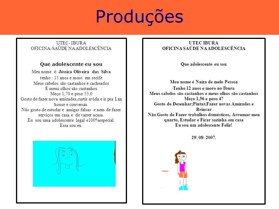 Produções UTEC- IBURA OFICINA-SAÚDE NA ADOLESCÊNCIA