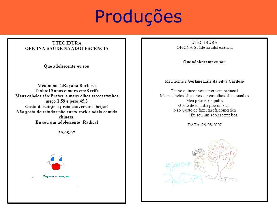 Produções UTEC IBURA OFICINA-SAÙDE NA ADOLESCÊNCIA