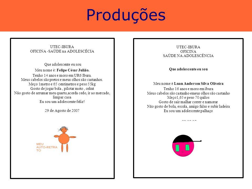 Produções UTEC-IBURA UTEC-IBURA OFICINA -SAÚDE na ADOLESCÊCIA OFICINA
