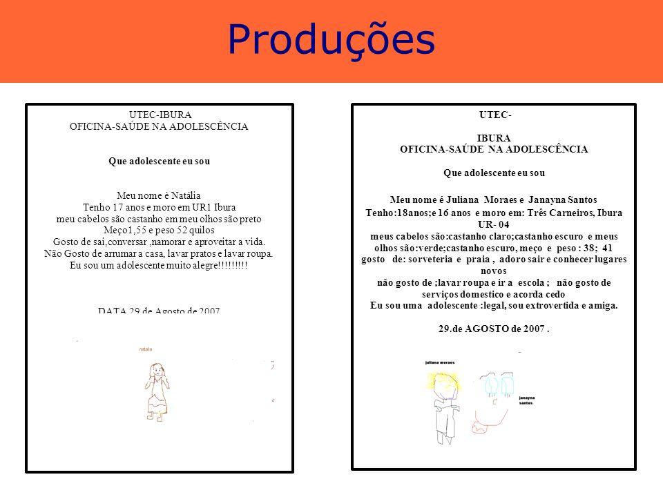 Produções UTEC-IBURA OFICINA-SAÚDE NA ADOLESCÊNCIA