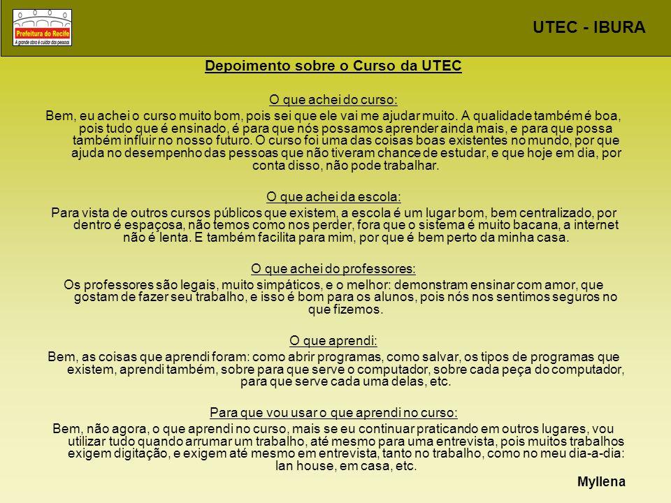 Depoimento sobre o Curso da UTEC