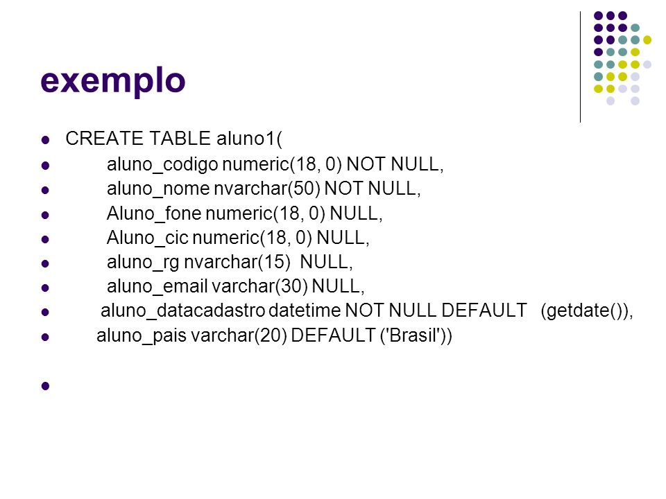 exemplo CREATE TABLE aluno1( aluno_codigo numeric(18, 0) NOT NULL,
