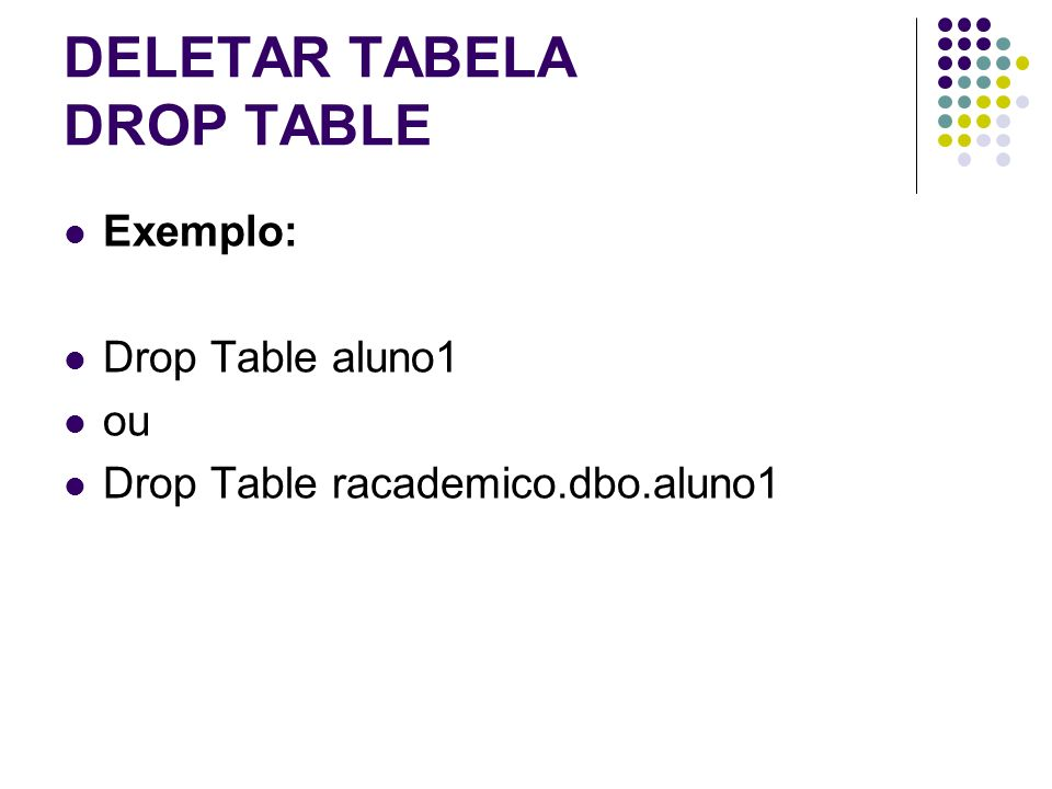 DELETAR TABELA DROP TABLE